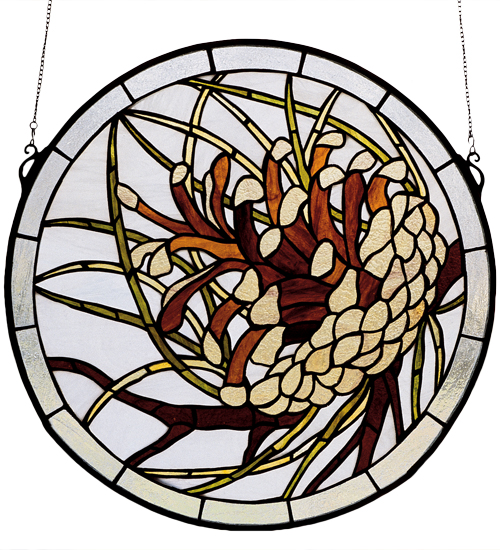 Pinecone Stained Glass Window