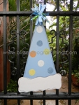 Birthday Hat Door Plaque - Blue