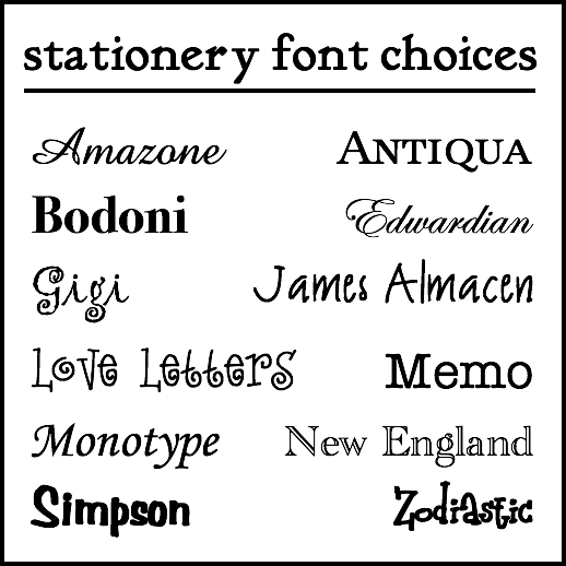 Stationery Fonts