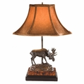 Bronze Moose On Rock Lamp With Linen Shade