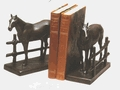 Burlwood Finish Horse and Fence Bookends