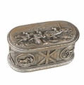 Detailed Horse Scene Lidded Box in Antique Silver Metal
