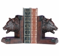 Detailed Bear Head Bookends in Burlwood
