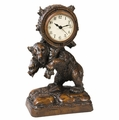 English Oak Backpack Bear Analog Clock by Oklahoma Casting