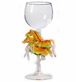 Wine Glass With 2 Horses on The Stem