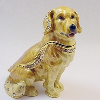 "Kingspoint ""Great Golden Retriever"" Trinket Box and Necklace"