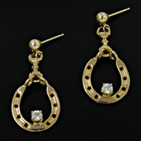 Snaffle,Single Horseshoe Diamond Earrings