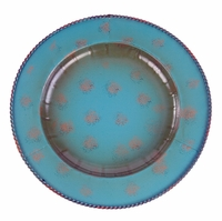 Turquoise Round Iron Charger