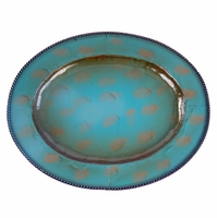 Turquoise Oval Iron Charger 19.5""