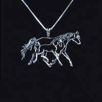 Running Mare & Foal Necklace with Box Chain