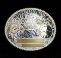 "National Champion 5"" Buckle Pictured With Jewelers Bronze Rope Edge"