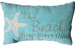Aqua Beach Pillow- The Beach Fixes Everything