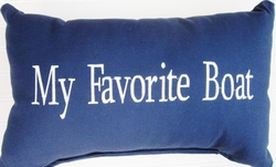 Nautical Pillow My Favorite Boat Navy