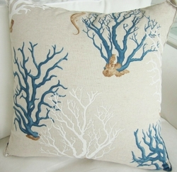 Mediteranean Blue Coral Pillow