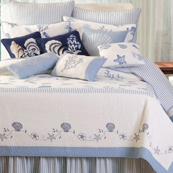 Blue Embroidered Seashell Quilt Shore House