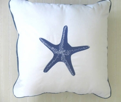 Blue Starfish Pillow Embroidered