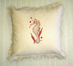 Seahorse Embroidered Pillow Coral