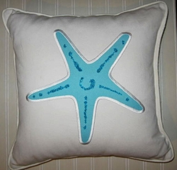 Newport Aqua Beaded Starfish Pillow