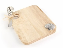 Shell Wood Cutting Board with Spreader