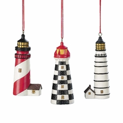 Set of 3 Lighthouse Ornaments