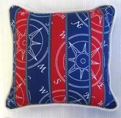 Compass Pillow Navy and Red