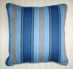 Sun and Shade blue Stripe pillow