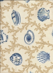 Coastal Seashell Curtain Panel Hampton Blue