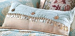 Coastal Seashell Throw Pillow Cape Cod Beaded