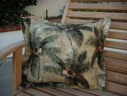 Tropical Palm Barkcloth Pillow