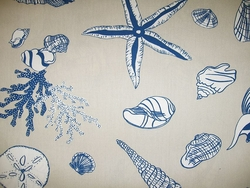 Coastal Seashell Curtain Panel Blue Sea