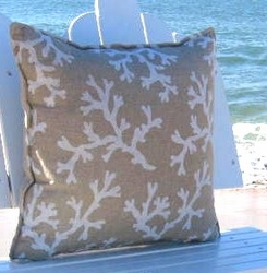 Brighton Beach House Pillow Tan Coral