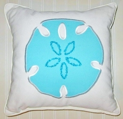 Newport  Beaded Sanddollar Pillow Aqua