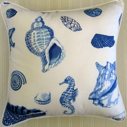 Blue and White Seashell Pillow