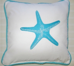 Aqua Blue Starfish Pillow