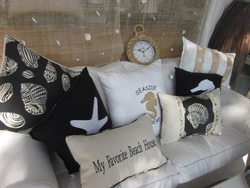 Black Coastal Seashell Pillows