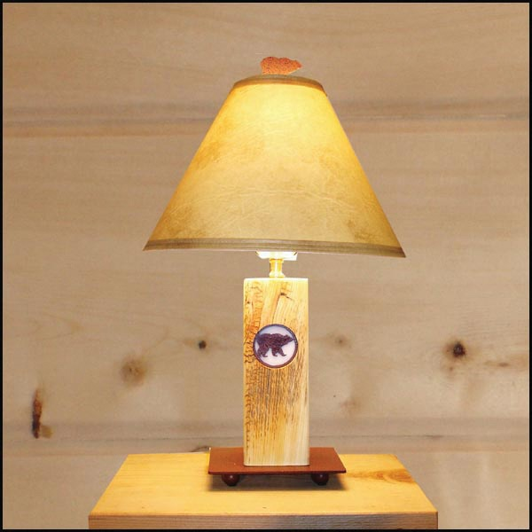 Reclaimed Wood Lamp with Grizzly