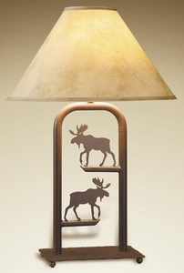 Fortress Table Lamp with Two Moose