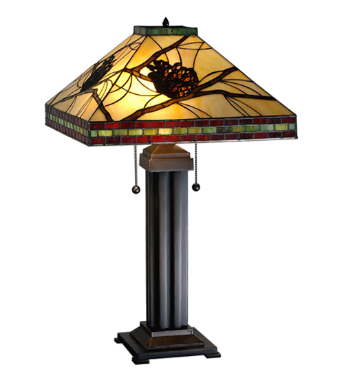 Burgundy Pinecones Mission Table Lamp