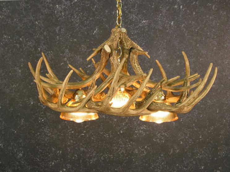 Whitetail Ten Antler Chandelier with Down Lights