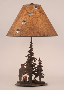 Cowboys and Pines Campfire Table Lamp