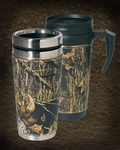 Mossy Oak Camo Leather Travel Mug