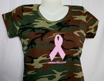Woodland Camo Pink Ribbon T-Shirt