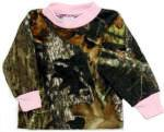Infant or Girls Long Sleeve Camo Tee - Trimmed Pink
