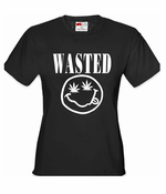 Nirvana Wasted Pot Leaf Smiley Face Women's T-Shirt