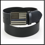 Police Thin Blue Line American Flag Belt Buckle