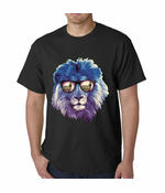 Lion Wearing Sunglasses Looking at a Zebra T-shirt