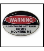 Warning Before Mounting Me Belt Buckle With FREE Leather Belt
