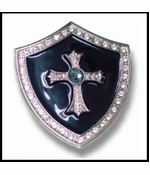 Knight Shield Cross Belt Buckle With FREE Leather Belt