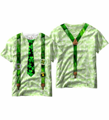 Shamrock Tie and Irish Suspenders St. Patrick's Day All Over Sublimation Print Mens T-shirt
