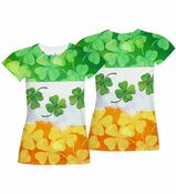 Irish Flag Shamrocks All Over Sublimation Print Women's T-shirt